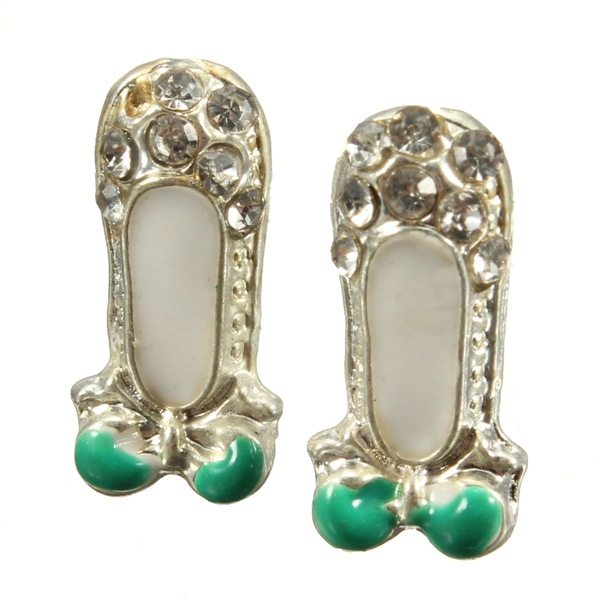 Rhinestone Shoes Bowknot Earrings