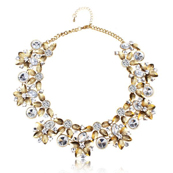 Crystal Flower Collar Choker Necklace