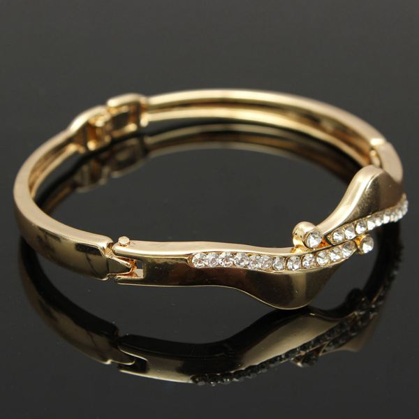 Gold Plated Filled Crystal Bangle