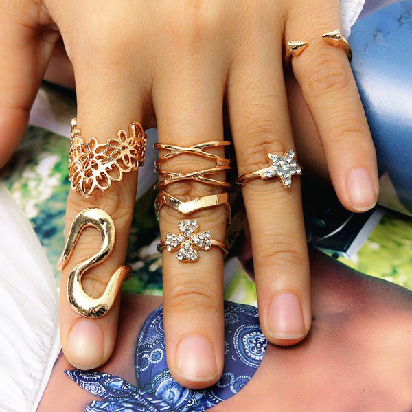 Rhinestone Clover Rings Set