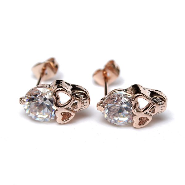 Rhinestone Skull Hollow Eyes Earrings