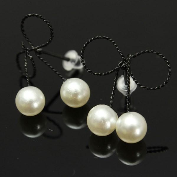 Double Pearl Bowknot Earrings
