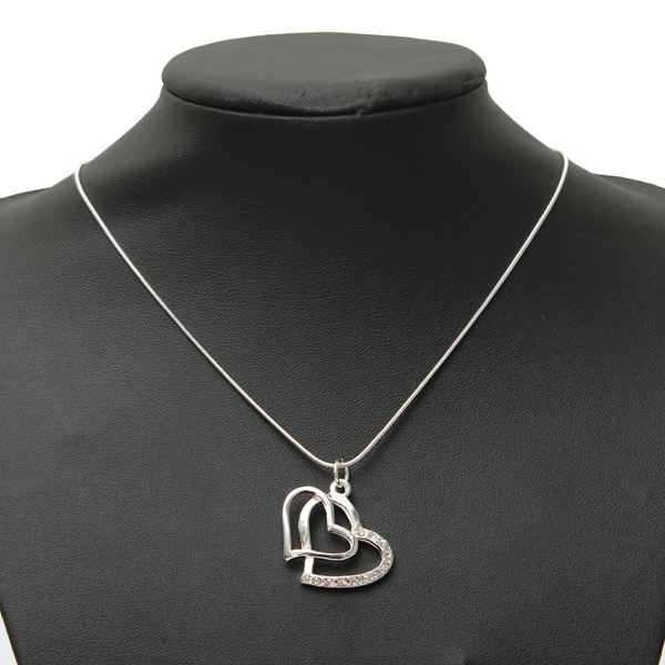 Silver Plated Hearts Necklace