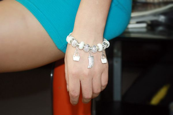 Silver Plated Glass Bracelet