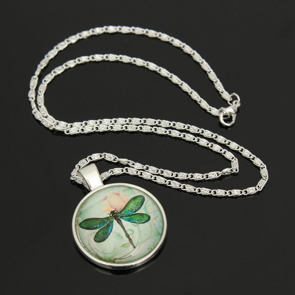 Dragonfly Glass Cabochon Necklace