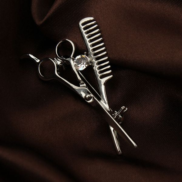 Crystal Comb Scissors Collar Pin