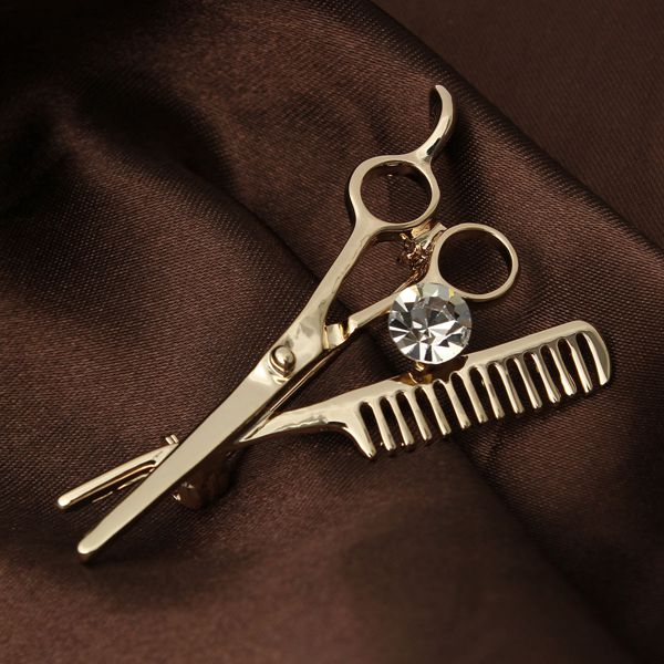 Mini Comb Scissors Brooch