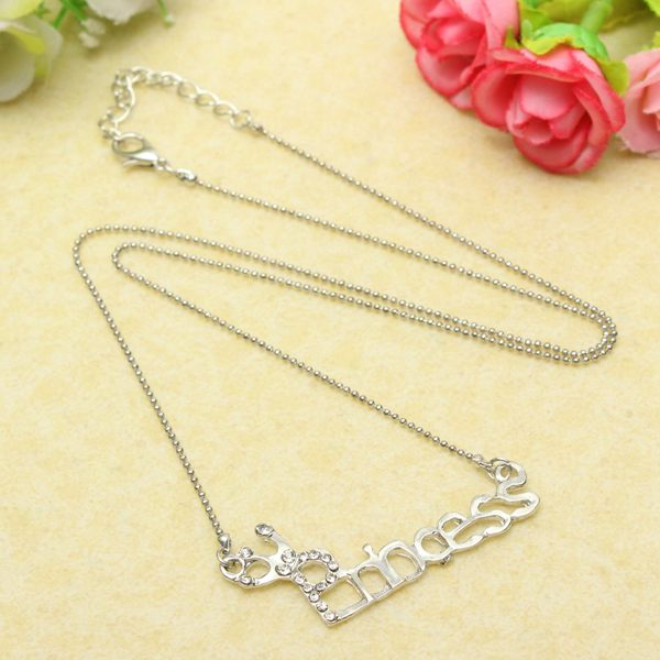 Rhinestone Princess Pendant Necklace
