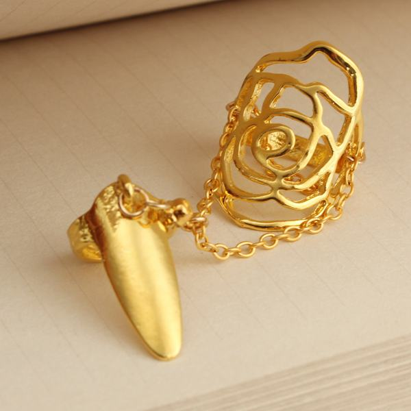 Hollow Rose Nail Ring