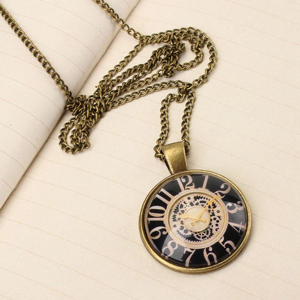 US UK Flag Watch Necklace