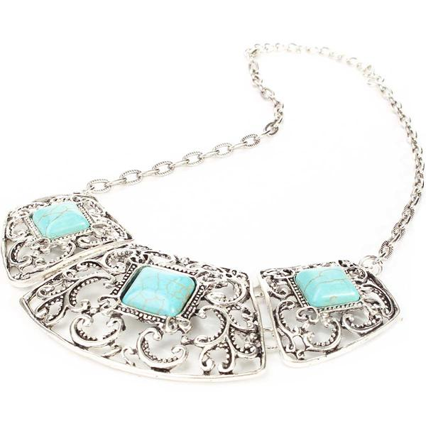Vintage Turquoise Flower Hollow Necklace
