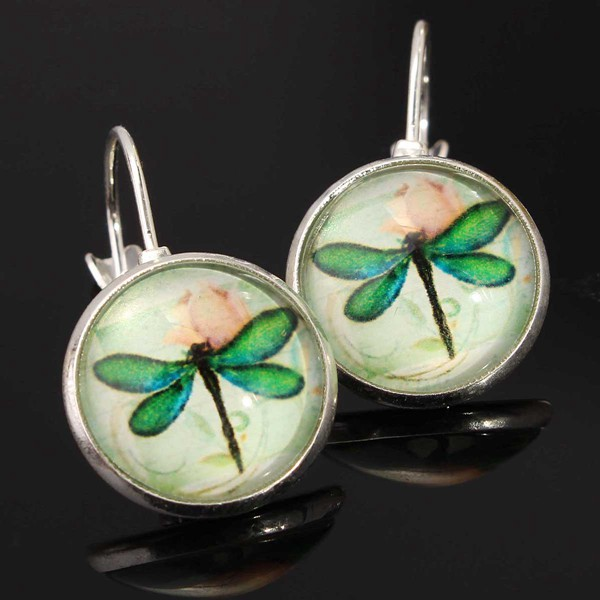 Glass Cabochon Dragonfly Earrings