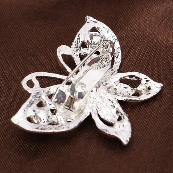 Silver Tone Rhinestone Butterfly Pin