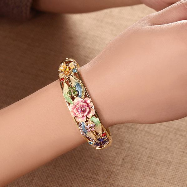 Gold Plated Butterfly Flowers Bracelet