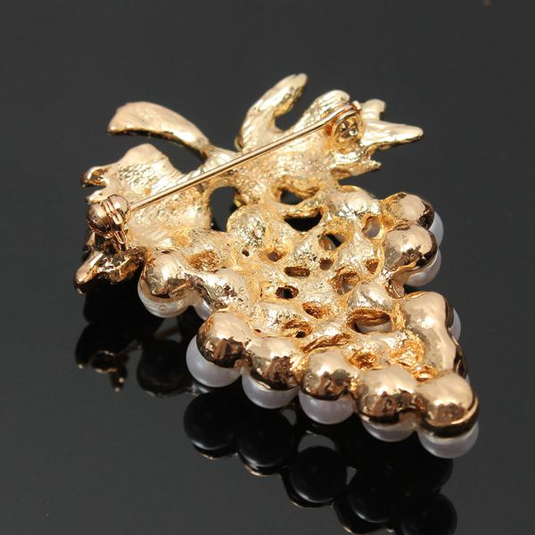 Gold Plated Grapes Brooch