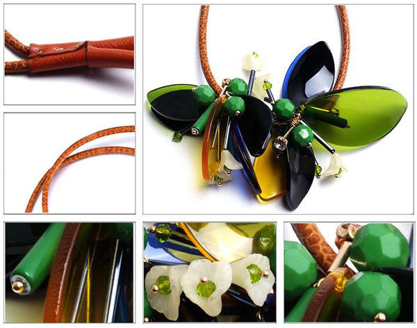 Leather Strap Flower Necklace