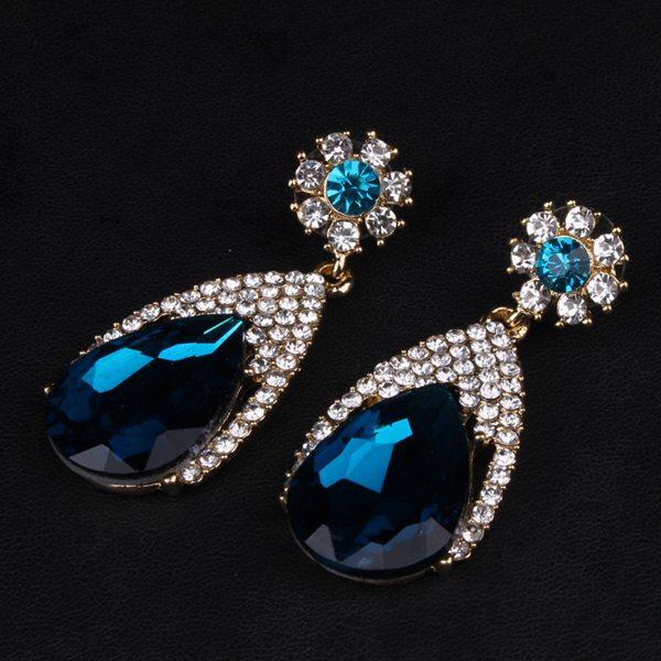 Water Drop Rhinestone Dangle Earrings
