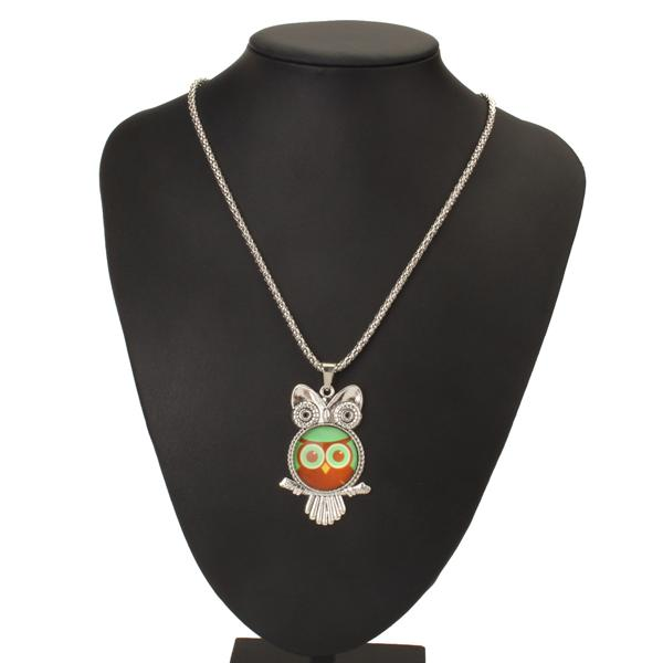 Vintage Owl Pendant Sweater Necklace