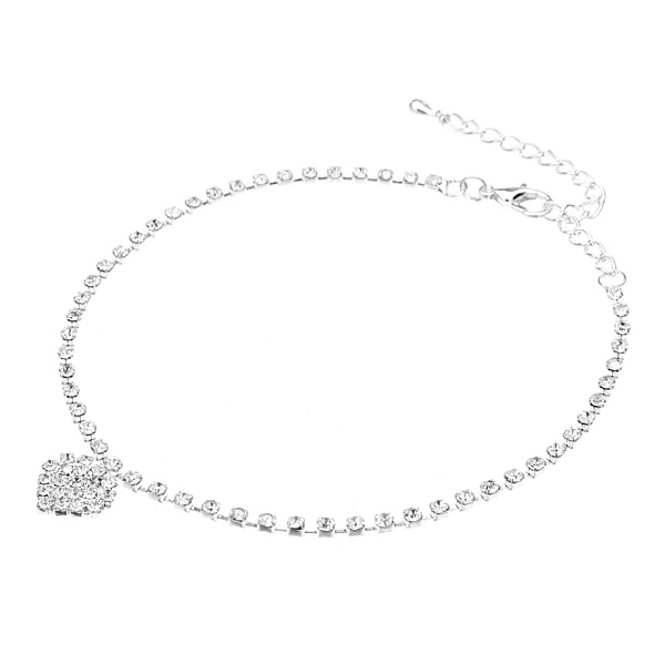 Silver Plated Rhinestone Anklet