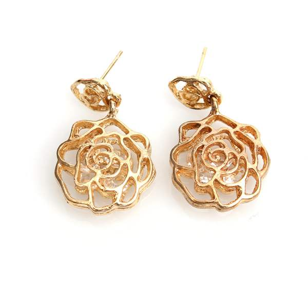 Bohemia Gold Hollow Flower Crystal Dangle Drop Earrings For Women - EachineEar Drop<br>Item Specifics: Material: Alloy, Crystal Color: Gold Gender: Women Shape: Flower Size: About 3 x 1.8cm Weight: About 6g Package Includes: 1 Pair x Earrings Note: 1.Due to the difference between different monitors, the picture may not reflect the actual color of the item. Please consider this before the purchase. 2.Please allow slight deviation for the measurement data.<br>