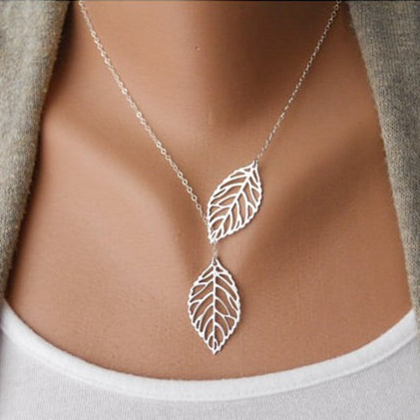 Vintage Gold Silver Big Leaf Pendant Clavicle Chain Necklace For Women vintage pendant lights gold silver color lampshade loft style kitchen dining room luminaire suspendu pully retro pendant lamp
