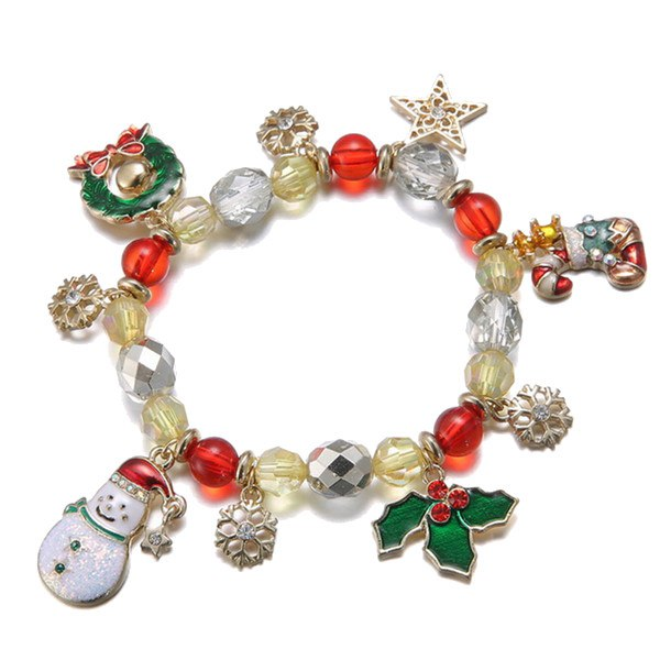 $1.88 For Christmas Snowflake Snowman Bell Charm Crystal Beads Bracelet Gift by HongKong BangGood network Ltd.