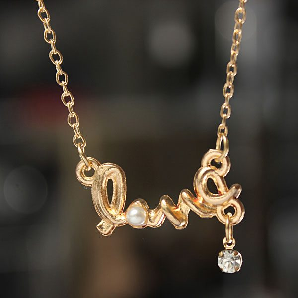 $0.99 For Gold Silver Rhinestone Pearl Circle LOVE Letter Pendant Necklace by HongKong BangGood network Ltd.