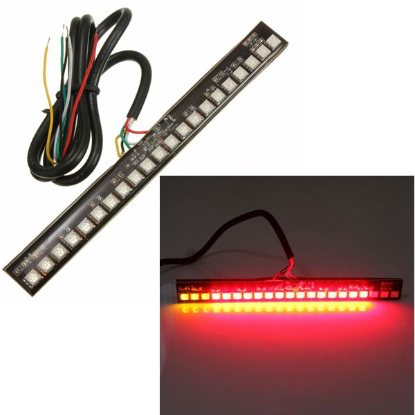 12V Universal Motorcycle 21LEDs SMD Rear Brake Tail Signal Strip Lights - EachineMotorcycle Tail &amp; Decoration Lights<br>Description: Brand new Durable Flexible Waterproof Bright light Easy to install Note: 1. Please check the size measurement chart carefully before making payment. 2. Please allow 0.5-1 inch difference due to manual measurement.(1 inch=2.54cm) 3. The color of the actual items may slightly different from the listing images due to different computer screen 4. Instruction is not included. Specifications: Color: like the picture show Length: about 16.2cm Width: about 1.7cm Wire Length: about 77cm LED number: 21 leds Light Color: Red Voltage: 12V Placement on Vehicle: Rear Fitment: Universal (For Motorcycle) Useage: Tail Light, Brake Light, Turn Signal Light Package Includes: 1 X LED Tail Light<br>