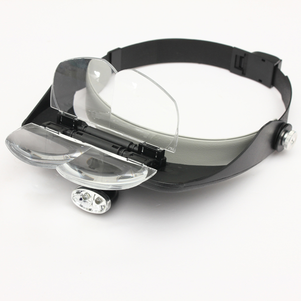 4 Lens Headband LED Head Light Magnifier Magnifying Glass Loupe 8 lens 10x 15x 20x 25x headband 2led magnifier magnifying loupe 9892g