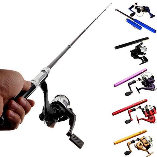 Mini Telescopic Portable Pocket Pen Fishing Rod Reel+Nylon Line set