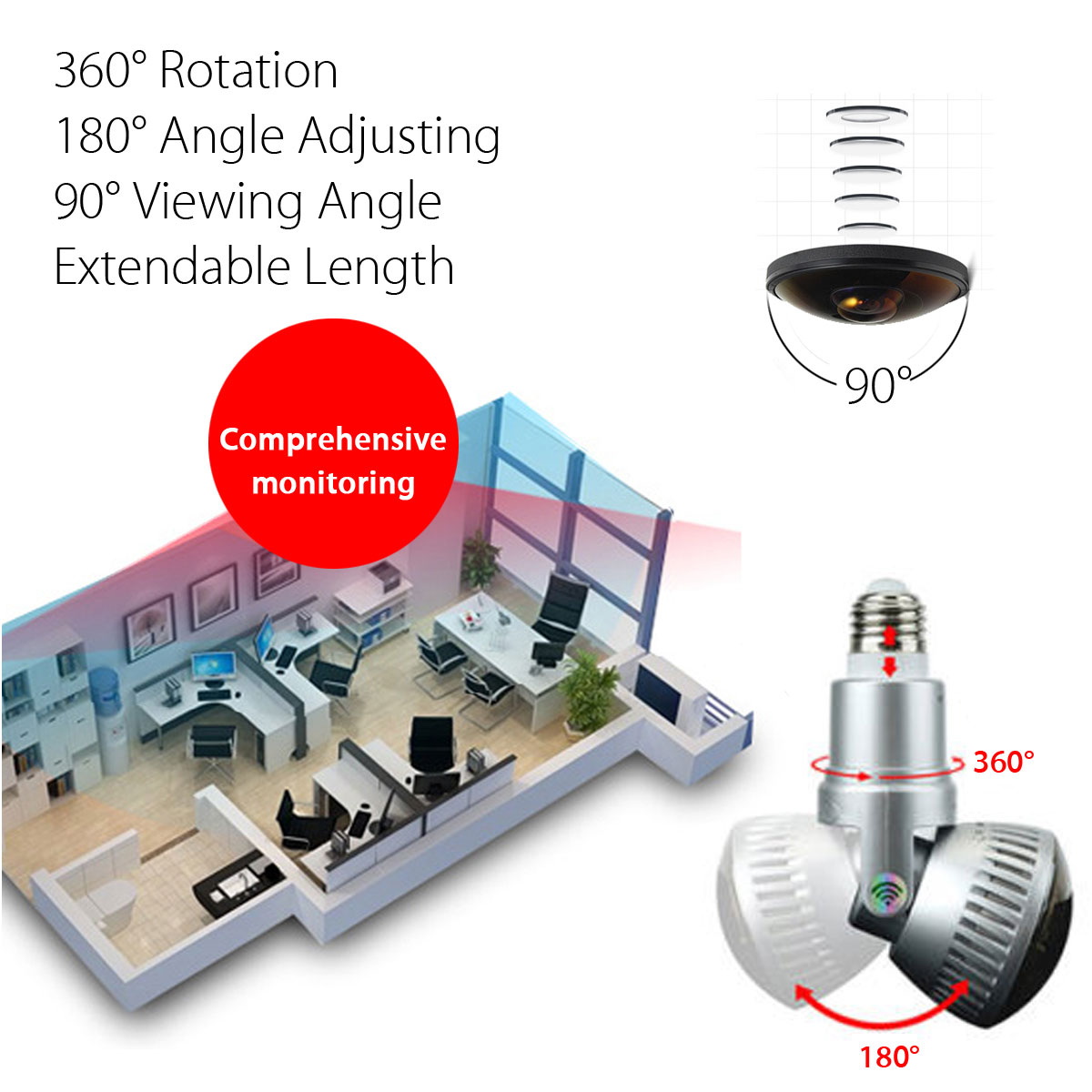 3.6mm Wireless Mirror Bulb Security Camera DVR WIFI LED Light IP Camera Motion Detection 15