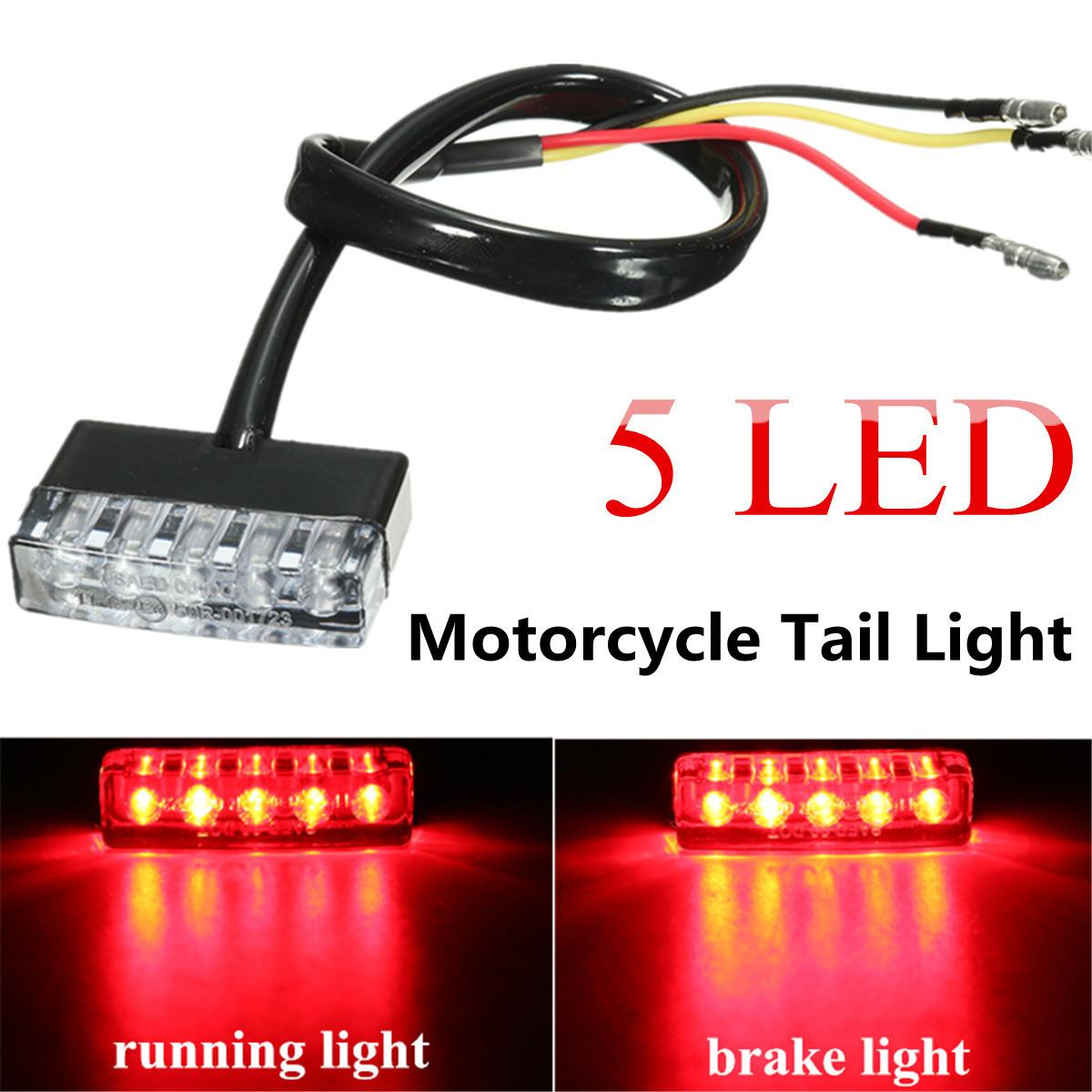 12V 5 LED Rear Tail Running Stop Brake Light Red Lamp ...