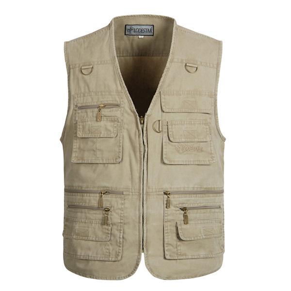 Mens outdooors fishing solid color multi pocket for Mens fishing vest