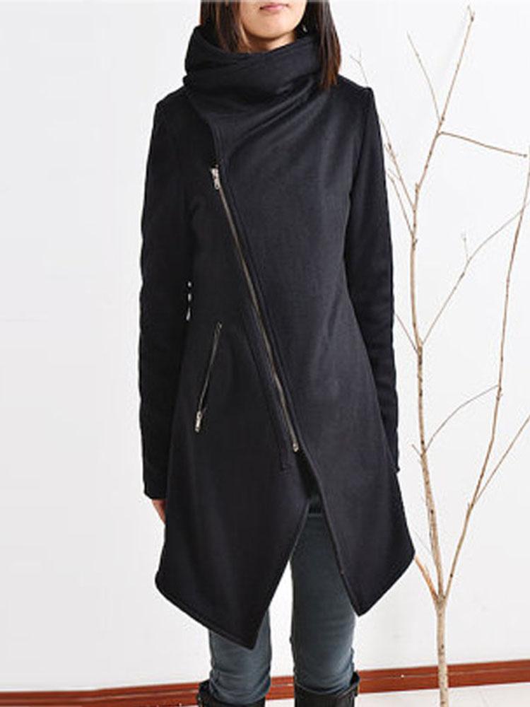 Casual Turn Down Collar Zip Up Long Sleeve Women Coats