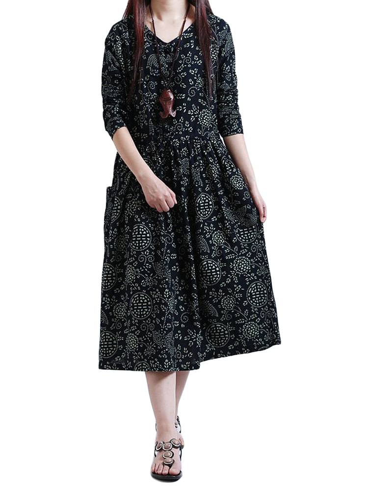 Vintage Loose Floral O Neck Pleated Dress