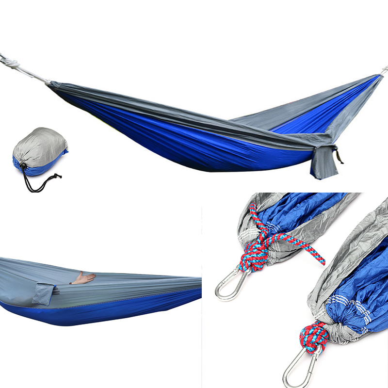 270x140CM Portable Parachute Hammock Nylon Double Swing Bed For Camping Hiking Travel portable parachute double hammock garden outdoor camping travel furniture survival hammocks swing sleeping bed for 2 person