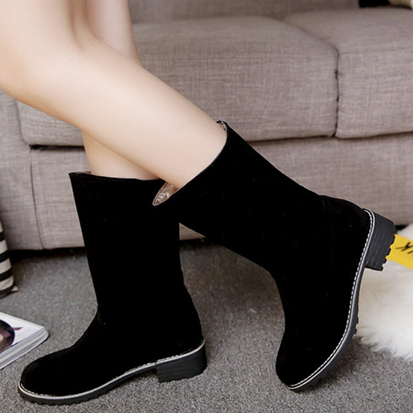 Pure Color Slip On Round Toe Mid- calf Boots For Women
