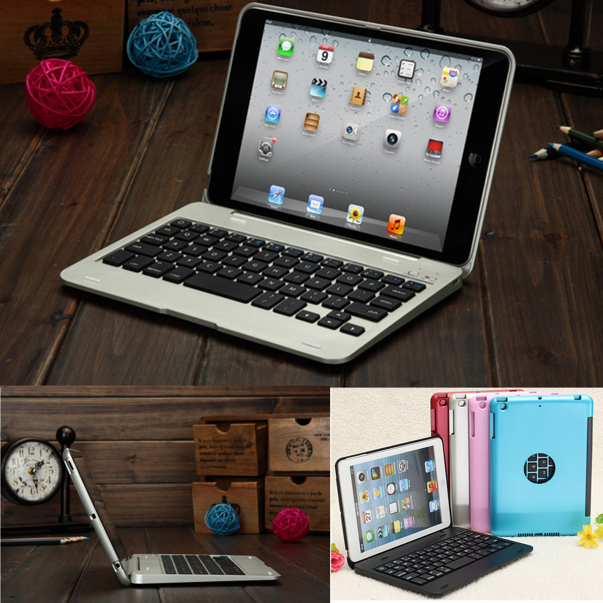2 In1 Bluetooth Keyboard Foldable Case Stand For iPad Mini 1 2 3
