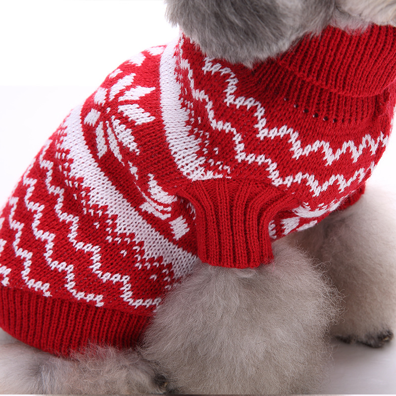 Christmas Snowflake Pet Dog Knit Crochet Warm Sweater Turtleneck Jumpsuit Clothes Small Dog Outwear
