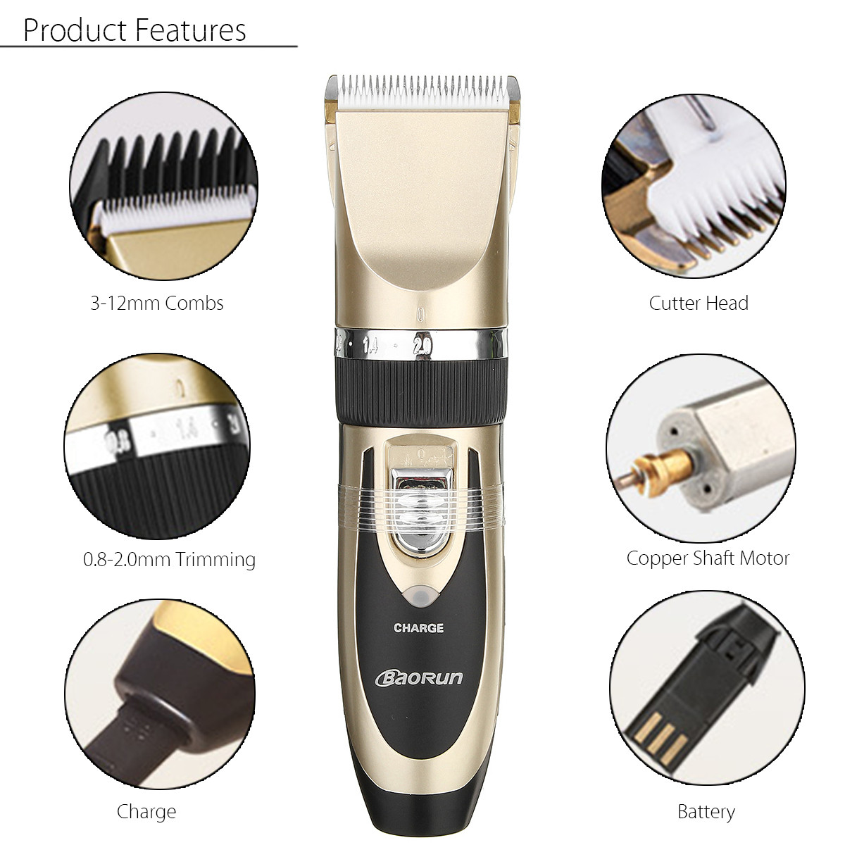 Baorun Children Men Women Electric Hair Trimmer Shaver