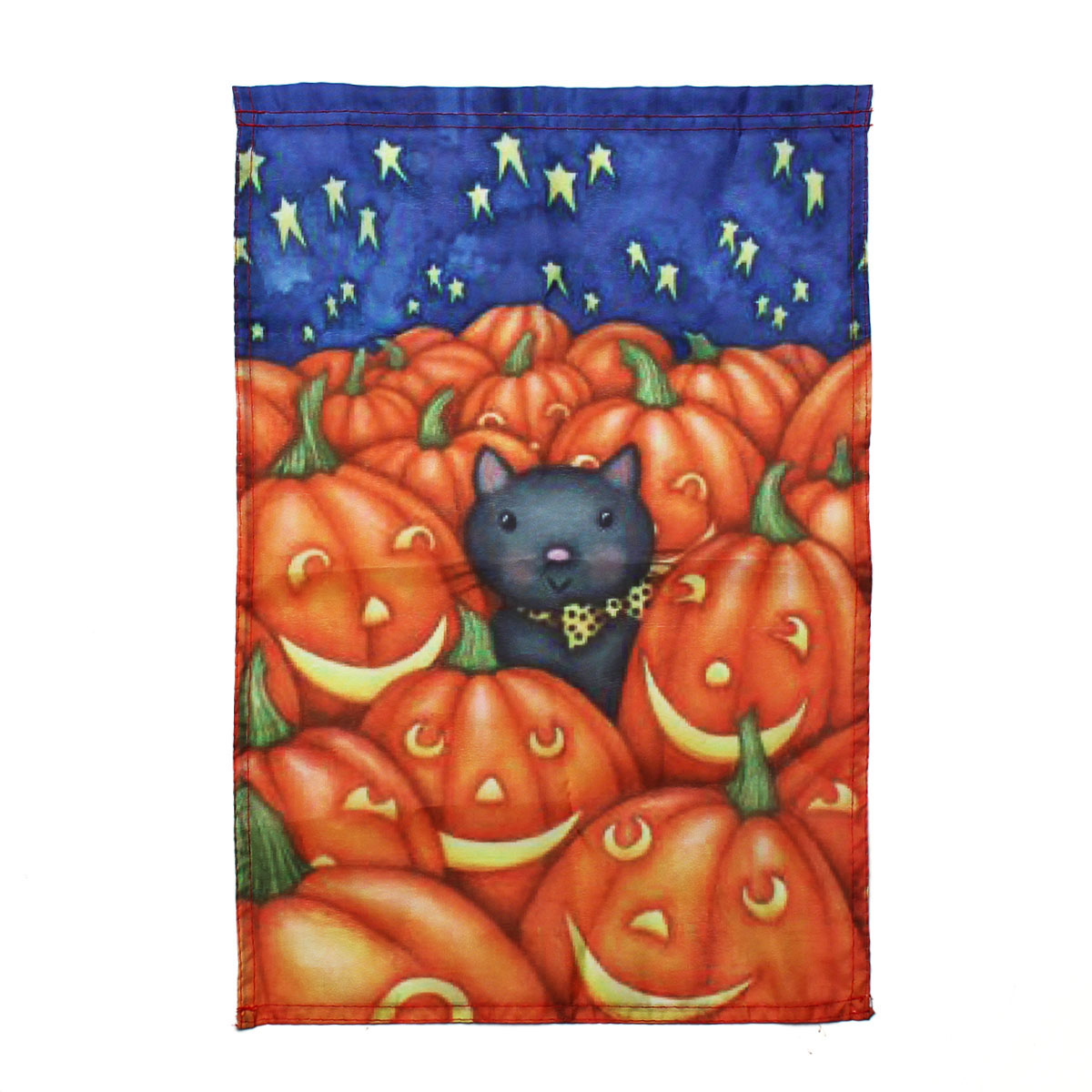 30x45cm Halloween Polyester Cat And Pumpkin Flag Garden Holiday Decoration