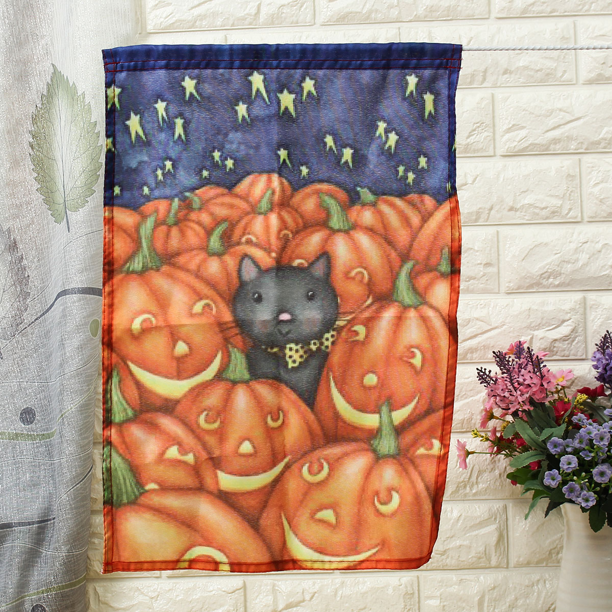 30x45cm Halloween Polyester Cat And Pumpkin Flag Garden Holiday Decoration
