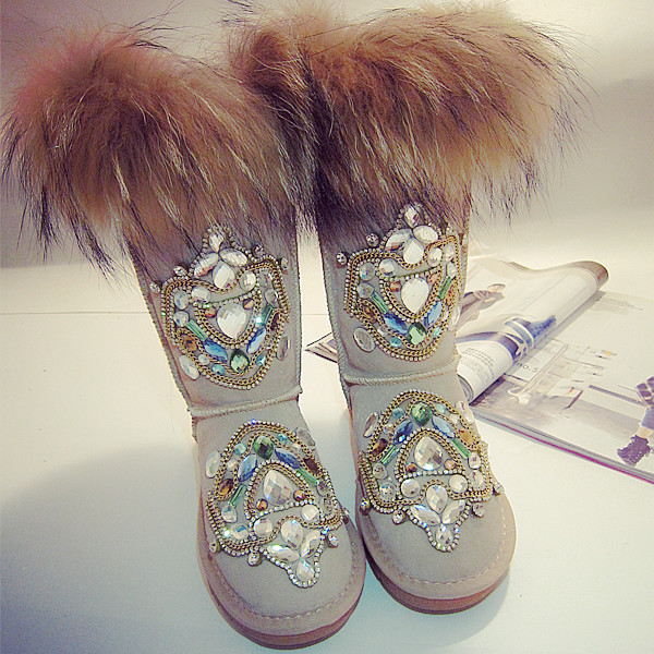 Buy Artificial Fur Warm Knee High Snow Boots Rhinestone Shoes For Women