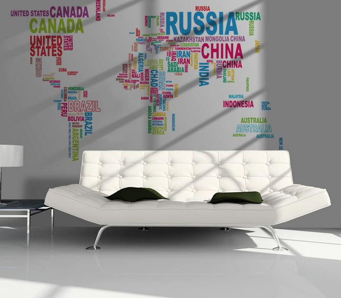 1mx2m lettre color e du monde carte murale autocollant d coration murale cr ative diy mur mural. Black Bedroom Furniture Sets. Home Design Ideas