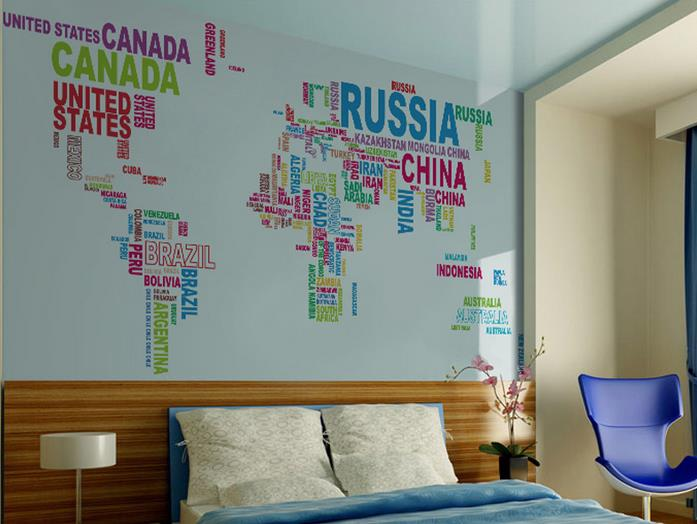 Ebluejay 1mx2m colorful letter world map wall sticker for Living room 6 letters
