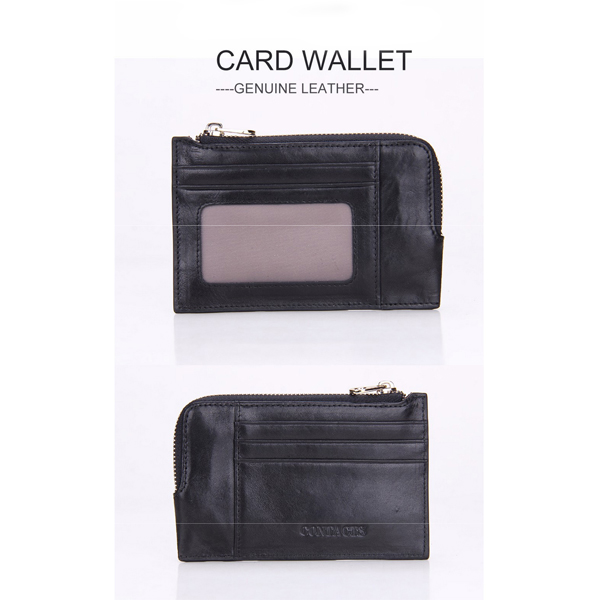Men Small Genuine Lether Short Card Wallet Coin Pocket Credit Card Holder