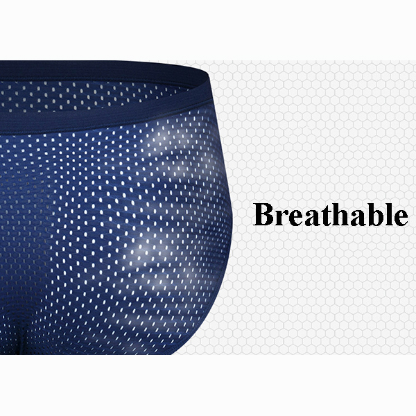 Ice Silk Soft Smooth Mesh Super Breathable Sexy Hip Lifting 3D U Convex Pouch Men Briefs