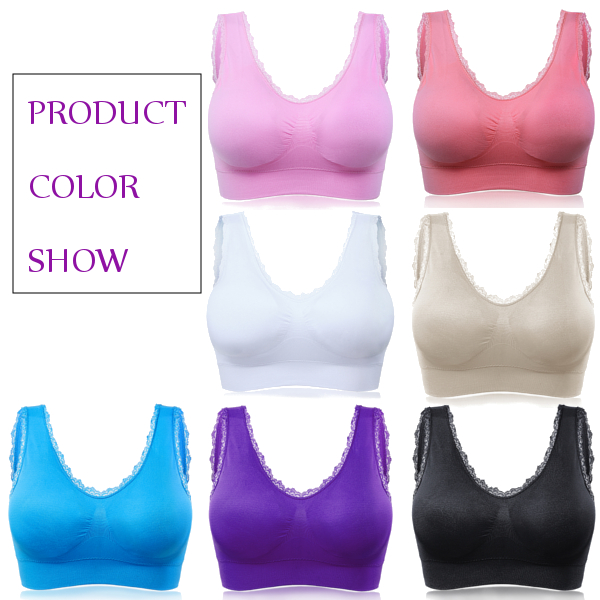 Comfy Women Lace Wire Free Thin Bra Full Cup Seamless Breathable Yoga Vest Brassiere