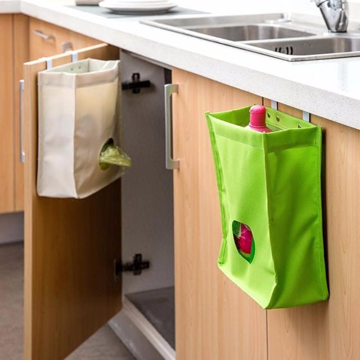 Kitchen Storage Bag Drawer Cabinet Door Back Garbage Bag Holder Hanging Organizer At Banggood