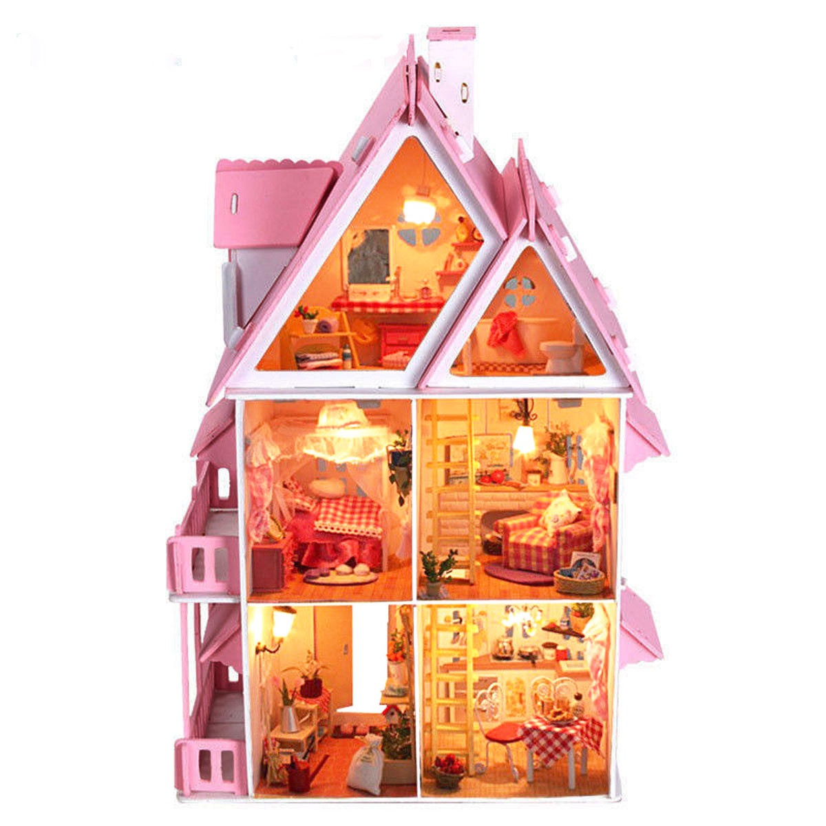 iiE Create DIY Wood Dream House With Light Miniature And Furniture Large Villa 2017 home decoration crafts diy doll house wooden doll houses miniature diy dollhouse furniture kit room led lights gift toy